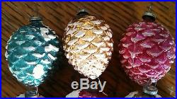 10 VINTAGE SNOW PINE CONE MERCURY GLASS CHRISTMAS ORNAMENT feather tree JAPAN