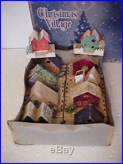 10 Vintage Cardboard Christmas Tree Putz Houses withOriginal Box Mica & Snow