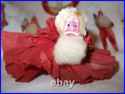 10 Vintage Chenille w Composition Face Santa Claus Ornaments for Feather Tree