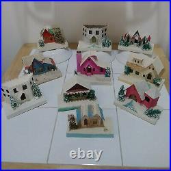 10 Vintage Christmas Village Mica Cardboard Putz Houses Trees Japan