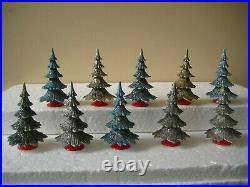 10 Western Germany Vintage Hard Plastic 3 Putz Glitter Christmas Village Trees
