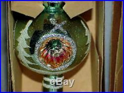 10 vintage INDENT Spire Christmas Tree Topper Glass & Plastic W Germany Poland
