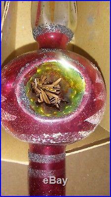 11 Vintage Blown Glass Christmas Tree Topper Fantasia Brand Poland TRIPLE INDENT