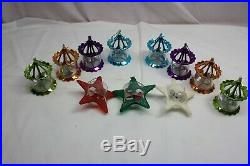11 Vintage Christmas Bird Cage & Star Spinner Twinkler Christmas Tree Ornaments