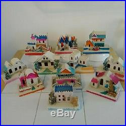 11 Vintage Christmas Village Mica Cardboard Putz House with Snowman & Tree Japan