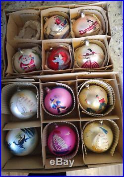11 Vintage Fantasia Brand Lg 4 Hand Painted Christmas Tree Glass Ball Ornaments