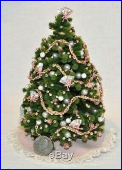 112 Miniature Dollhouse Chenille Christmas Tree Pink Gold Ornaments Skirt Lace