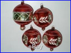 12 Antique Vintage Christmas Tree Glass Ornaments Triple Indent, Nipple, Balloon