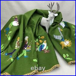 12 Days Christmas Vintage Felt Tree Skirt Table Cover Felt Sequin MidCentury