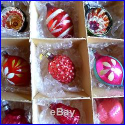 12 Feather Tree Glass Unsilvered Bell Indent Xmas Ornaments Box vtg Teardrop