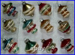 12 Used Vtg Shiny Brite Atomic, Ufo, Top Mercury Glass X-mas Tree Ornaments