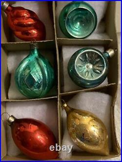 12 VTG Antique Glass Figural Christmas Tree Ornaments Swirl Acorn Lantern