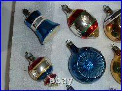 12 Vintage 1950's Premier Glass Christmas Tree Ornaments Indent Indented, Bells