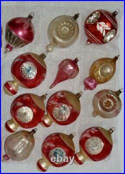 (12) Vintage Antique X-mas Tree Ornaments Parachute, Nipple, Triple Indent