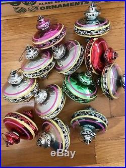 12 Vintage Bradford UFO Christmas Tree Holiday Ornaments MCM Atomic Sputnik Box