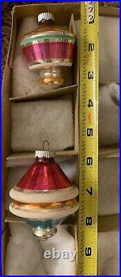 12 Vtg Atomic Sputnik UFO TOP TORNADO Mica Glass Mercury Shiny Brite MCM Large