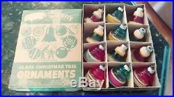 12 Vtg SHINY BRITE Christmas Tree Glass Ornaments with original box