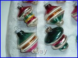 12 Vtg Shiny Brite Atomic, Ufo, Top, Tornado Mercury Glass X-mas Tree Ornaments