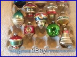 12 Vtg Shiny Brite Ufotoplanterntree Indents 3.5-2.5 Christmas Ornaments