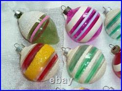 12 Vtg Shiny Brite X-mas Tree Glass Ball Ornaments Ww II Era Unsilvered, Mica