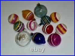 12 Vtg X-mas Tree Glass Ornaments World War Ww II Era Unsilvered Mica Tinsel