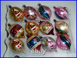 12 Vtg X-mas Tree Glass Teardrop Ornaments Made In Poland, Polish Santa Claus