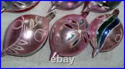 12 Vtg X-mas Tree Glass Teardrop Ornaments With Box Poland Polish Santa Claus