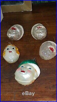 12 West Germany Vintage Christmas Ornaments Blown Glass Tree Santas teapot elf