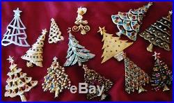 13 Vintage Christmas Tree Pins Including Swarovski, Eisenberg, DeNicola, Jonette