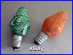 13 Vintage Westinghouse Marbleized Marble Swirl C7 Christmas Tree Bulbs Lights
