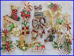 135 Pc Vintage Modern COSTUME ESTATE JEWELRY CHRISTMAS Tree Wreath BROOCH Lot
