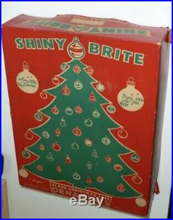 14 Vtg X-mas Tree Glass Ornaments World War Ww II Era Unsilvered Shiny Brite Box