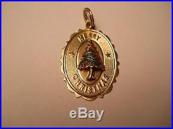 14K Gold Retro Vintage Merry Christmas / Christmas Tree Pendant Charm
