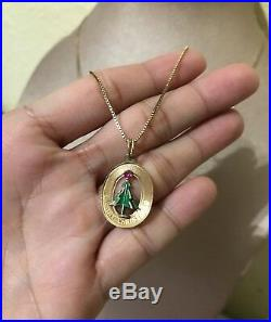 14K Gold necklace Retro Vintage Merry Christmas / Christmas Tree Pendant Charm