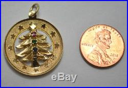 14K Yellow Gold Christmas Tree Round Charm Pendant with Stones Vintage 3.9g