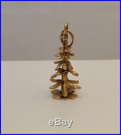 14k GOLD VINTAGE CHRISTMAS TREE CHARM PENDANT (CH596)