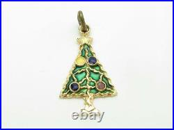 14k Solid Yellow Gold Christmas Tree Design Vintage Charm Pendant Necklace Gift