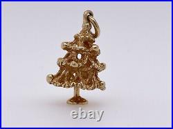 14k Yellow Gold 3d Vintage Christmas Tree Charm