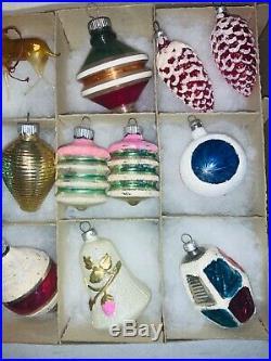 15 Shiny Brite, West Germany, Poland, Vintage Christmas Ornaments Mica Stencil