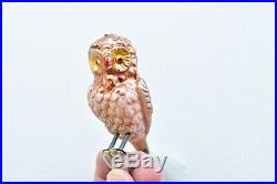 15 Vintage Owl Bird Clip On With Tail Christmas Tree Decorations Ornaments Glass