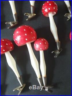 15 X Original Vintage Glass Mushroom/toadstool Christmas Tree Decorations