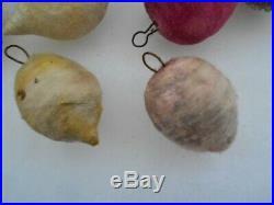 17 Vintage/Antique Spun Cotton Mica Fruit Ornaments For Feather Christmas Tree
