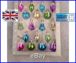 18 Nordic Vintage Style Traditional Christmas Tree Baubles Mixed Colours