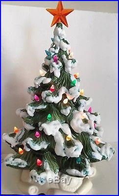 18 Vintage Large Ceramic Christmas Tree Snow Capped Tips White Base