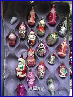 18 Xmas Tree Decorations Glass Bubbles Fantasia Figures -Vintage Handmade Unique