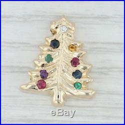 18ctw Gemstone Christmas Tree Charm 14k Yellow Gold Vintage Slide Holiday