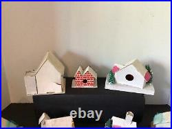 19 Vtg Christmas Putz Japan Cardboard Mica Glitter Loofah Bottle Brush Trees
