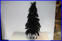 1920's Style Vintage Ostrich Feather Christmas Tree 36'' Real Black Ostrich 3ft