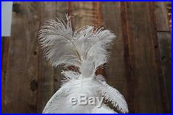 1920's Style White Vintage Real Feather Christmas Tree 3ft Ostrich Feather 36'