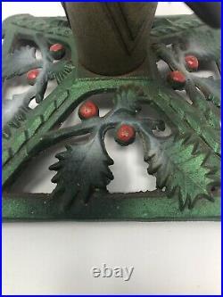 1930s ART DECO Cast Iron Xmas Tree Stand original antique Vtg Holly Berries